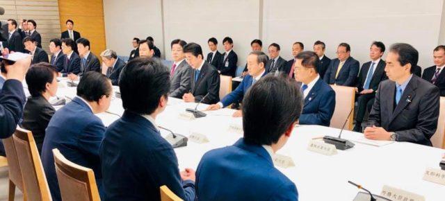 新型コロナウイルス感染症対策本部に出席(総理官邸)